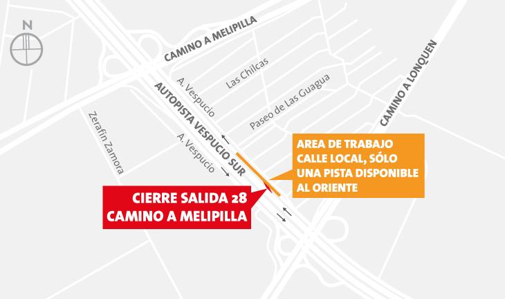 Cierre salida 28 Camino a Melipilla